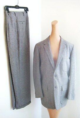"""1950's Grey, Red, Blue Fleck Hollywood Highrise suit. Gentry for Penny's. Sz.38"""""""