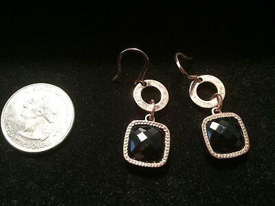 Rebecca Italy rose gold and onyx earrings