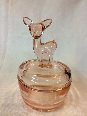 Vintage Jeanette Pink Depression Glass Powder Jar ~ Fawn Deer Doe ~ Sweet Gift!