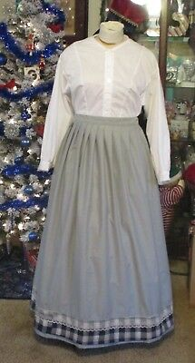 Civil War Dress~Victorian Style-100% Cotton Pale Gray Camp/work Skirt~