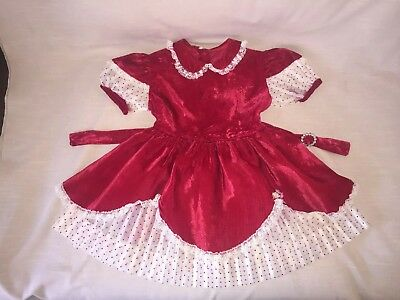 Vtg Red Vevet Sheer Red Polka Dot Little Girls Dress