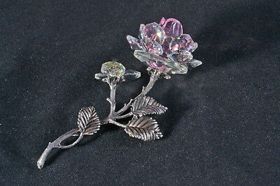 LAYING LILAC CRYSTAL & METAL STEM ROSE ORNAMENT GIFT FLOWER- New in box