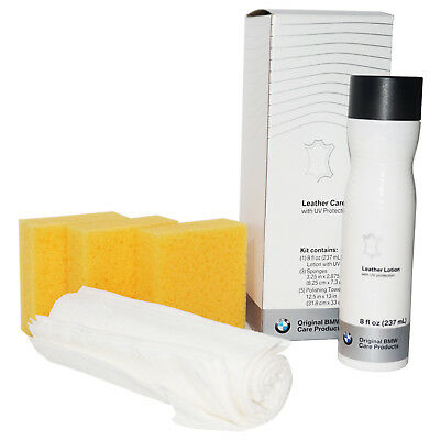 BMW Genuine OEM LEATHER CARE SET with UV PROTECTION Lotion 3-Sponges 5-Towelette