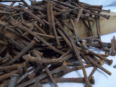 HUGE 4 LB LOT Vintage Antique Square Cut Nails ASSORTED SIZES Salvage USED BENT