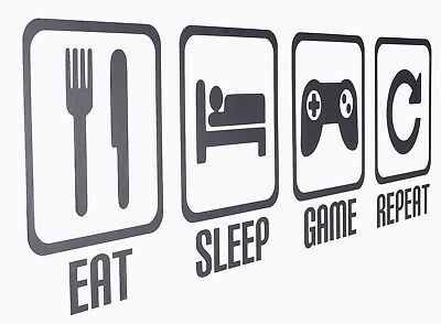 Eat Sleep Game Repeat - Gamer Wall Art Decals/Stickers - Various Colours