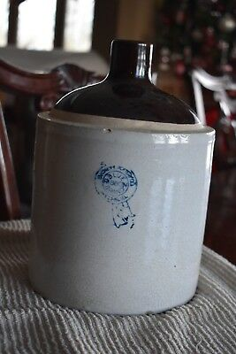 Antique Macomb Buckeye Pottery Stoneware Jug Blue Ribbon Trademark Illinois