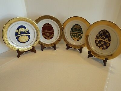 Fabrege Egg Gold Rim Egg Plates Set Four Muirfield Magnificence  Palace Royal