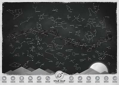 A3 Poster – Modern Star Map of the Constellations (Picture Zodiac Astrology Art)
