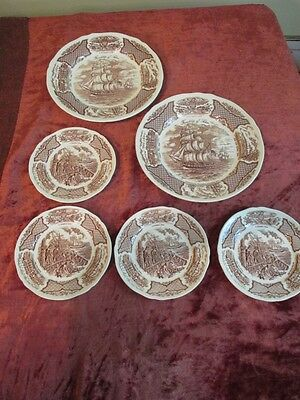Set 2 Dinner / 4 Salad Plates Alfred Meakin Nautical  'Historical Scenes'