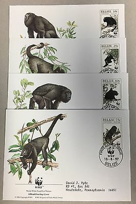 BELIZE 1997 WWF SET Of 4 FRIST DAY COVERS ( S#09)