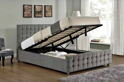 Ottoman Beds in Cube upholstery crushed velvet with crystal diamond bed frame
