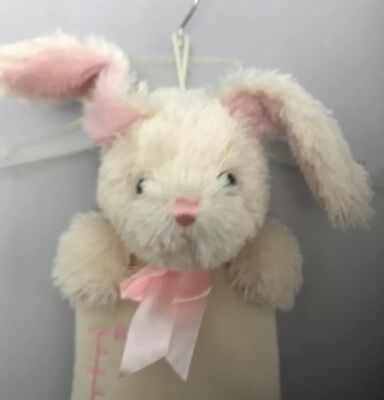 Plush Rabbit Bunny Growth Chart Picture Holder Pink Ivory Embroidered Numbers