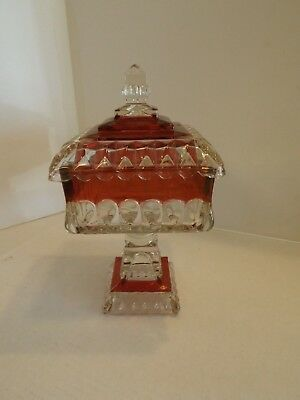 Vintage Indiana Glass Ruby Red Flash Compote Covered Candy Dish Square Pedestal