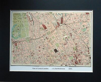 Street Plan Map PART OF CENTRAL LONDON ~ J. G.Bartholomew Mounted 1893 #2