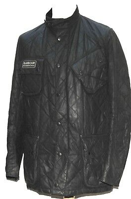 Great Men Barbour International Wax Quilted Quilt Jacket Medium Black