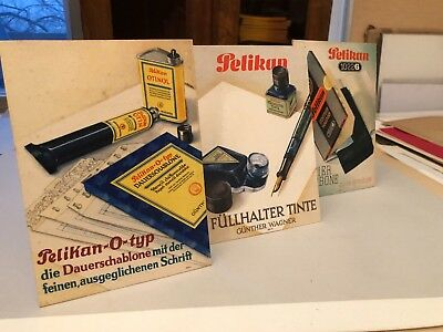 3x Werbe PAPPE HANNOVER  Pelikan Füller display TINTE Knickflasche