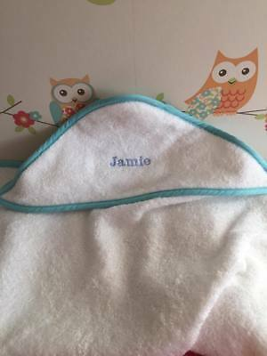 Personalised embroidery baby toddler hooded towel boy girl pink blue name