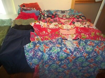 19 Piece Scrubs Tops and Bottoms lot Nice Hello Kitty-Disney-Snoopy-More XXL/XL
