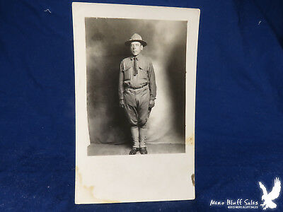 WWI US Army Soldier Campaign Hat RPPC Studio Portrait