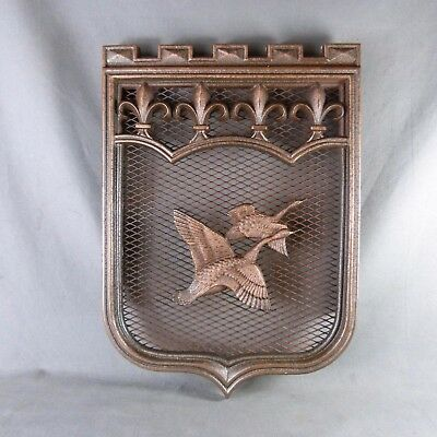 Antique French Coat of Arms Cast Iron Plaque Decor Two Birds in Flight & Lilies