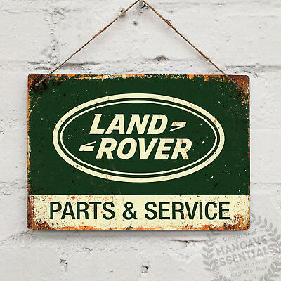 LAND ROVER PARTS Green Vintage Metal Wall sign Retro Garage 4x4 Defender Service