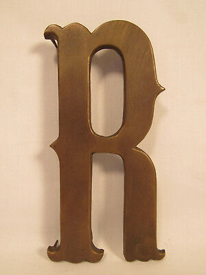 "Large Brass Letter "" R "" Initial Shop Sign Plaque Old Vintage"