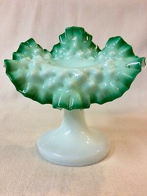 Art Glass Jack In The Pulpit Vase Green Opalescent Hand Blown