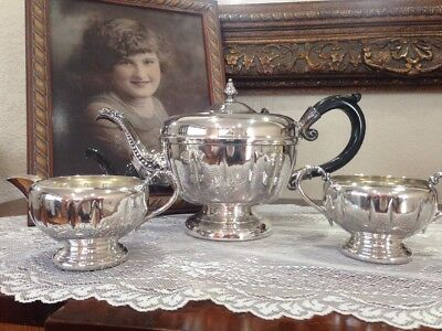Vintage Viking Silver Plate Tea Set Teapot Creamer Sugar Beautiful Victorian