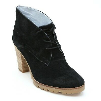 New GAP Ladies 9/40  Black Leather Suede High Heels Ankle Lace up Booties