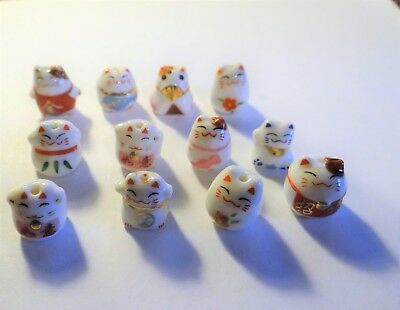 Twelve Porcelain Animal Beads,Fancy Cats , Assorted, Approx.10-13,   #127C
