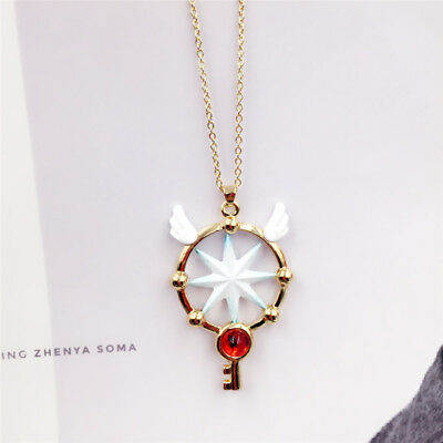 Anime Card Captor Sakura Kinomoto Star Wand Dream Key Pendant Necklace Cosplay