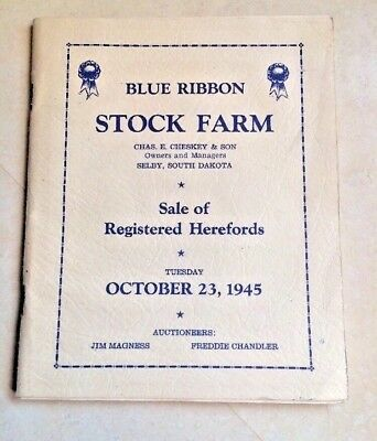 1945 Vintage Blue Ribbon Stock Farm Hereford Cattle Bull Sale Selby South Dakota