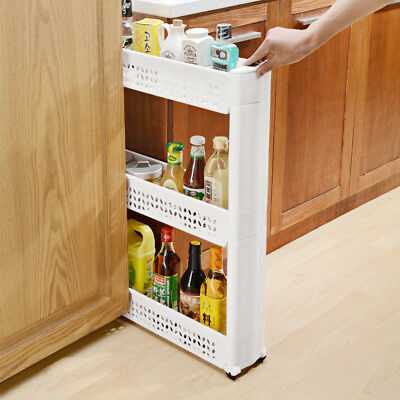 New Slim Slide Out Kitchen Trolley Shelf Rack Holder with Wheels 3 Tier White