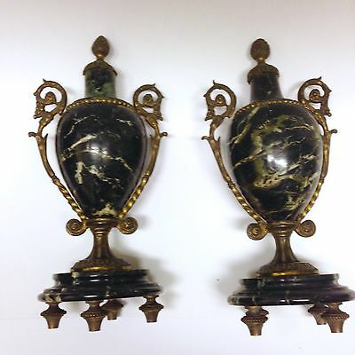 "Pair 19th C. French 9"" Neoclassical Gilt Bronze Marble Vein Urns c.1890 antique"