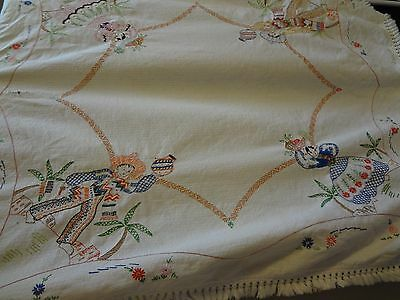 Handmade Tablecloth Embroidery Mexican Spanish People 1950 Detail One of kind