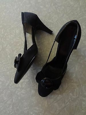 Vintage Shoes Cut Out Pattern Low Heel Kitten Black Bow Pin up7 beauty pageant