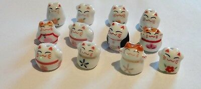 Twelve Porcelain Animal Beads,Fancy Cats , Assorted, Approx.10-13,   #123C