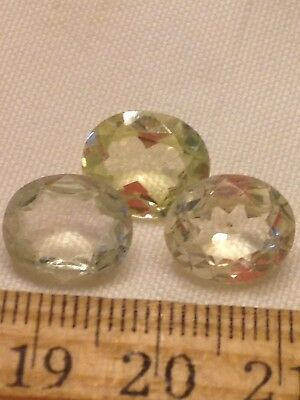 Lot Of 3 Antique Rhinestones Faceted 10x12mm Oval Lemon Yellow Jewelry Repair
