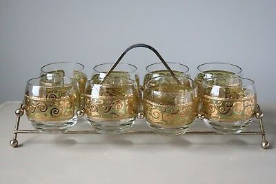 Culver Toledo Roly Poly Glasses, Set of (8), Brass Caddy Mid Century Modern MCM