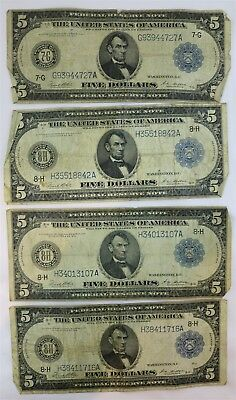 Lot of Four US Series 1914 Fed Reserve $5 Dollar Note Large Bill White Mellon