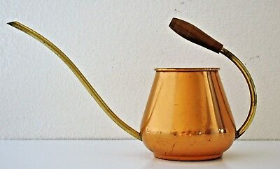 Vintage Copper WATERING CAN Brass wood Handle Long Spout Tagus