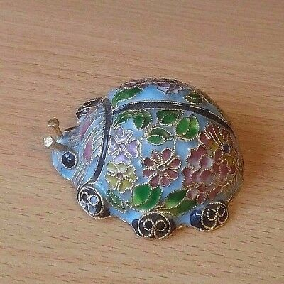 """Vintage Ladybug music box ornate colorful gold colored accent floral """"Twinkle"""""""