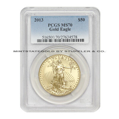 2013 $50 Gold Eagle PCGS MS70 graded modern American Bullion 1 oz coin 22KT