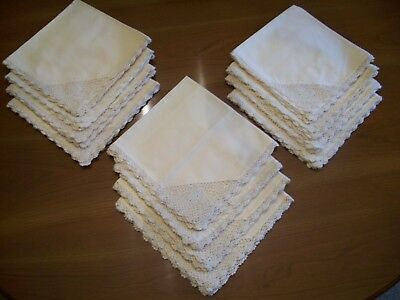 "Vintage Hand Crocheted Cotton Napkins Ecru One Dozen 16"" Square"