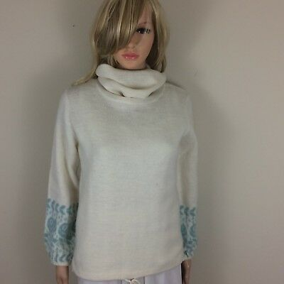 Vtg 1970 Cowl Neck Sweater ~ Soft Cocoon Oversized Winter White Draw String Sz S