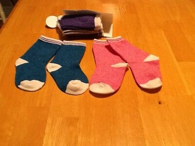 Cat & Jack Toddler Girls Solid Stripped Crew Socks 5 Pair Size 2T/3T NEW
