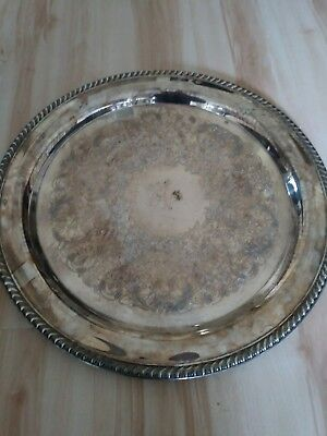 """Vintage WM Rogers Silver Plated Large 15"""" Round Serving Tray Platter"""
