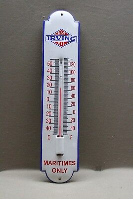 Irving Gasoline Motor Oil Maritimes Porcelain Thermometer  Sign  Gas Oil