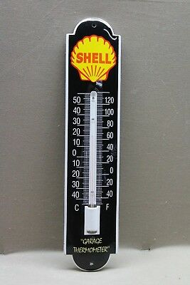 Shell Motor Oil Gasoline Station Service Porcelain Thermometer Sign Gas Oil