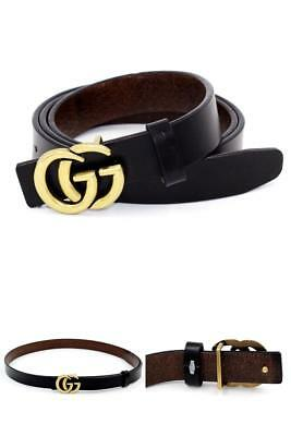"""Womens Genuine Leather Belt """"GG"""" Gold Buckle 0.9"""" Thin Belts For Jeans Pants New"""